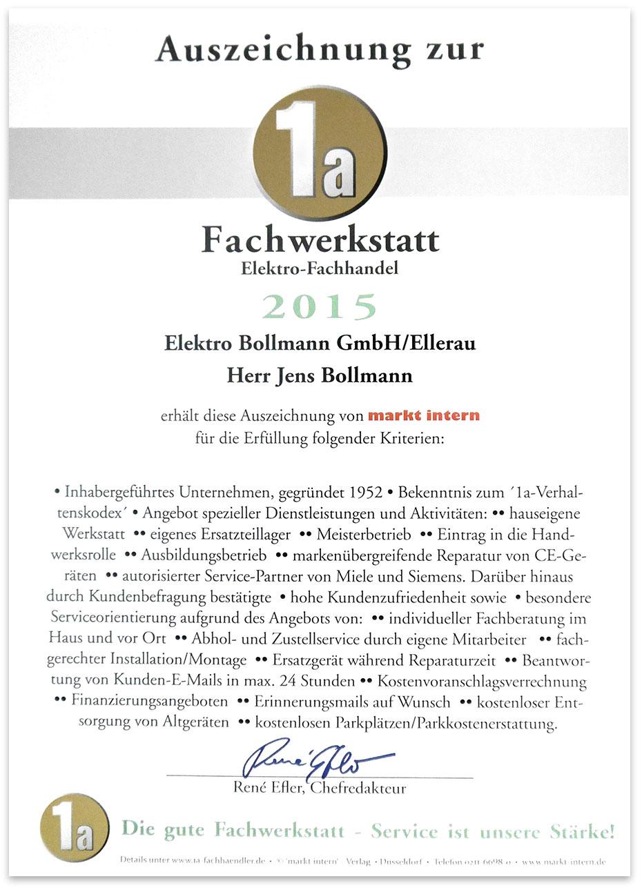 Auszeichnung 1a Fachwerkstatt